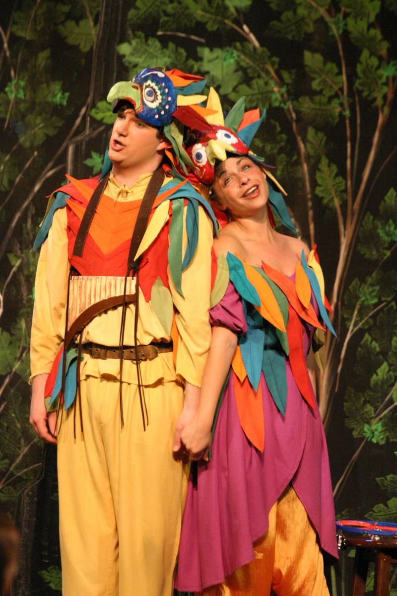 Baritone Jamie Kotmair as Papageno and soprano Elizabeth Russ as Papagena in Mozart's the Magic Flute.